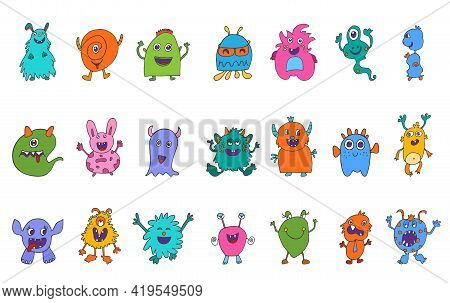 Cute Character Cartoon Baby Alien. Amusing Baby Beast. Bizarre And Funny Monster. Collection Set Iso
