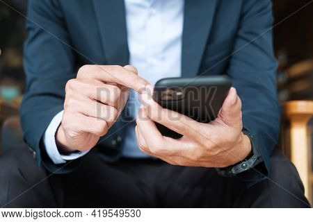Young Businessman In Suit Holding And Using Smartphone For Sms Messages, Man Typing Touchscreen Mobi