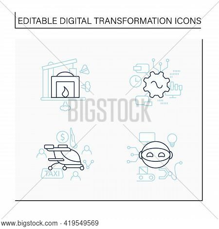 Digital Transformation Line Icons Set. Robot, Free Air Taxi, Software, Industry 1.0. Modern Technolo