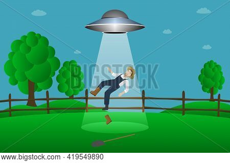 Flying Saucer Abducts Farmer. Cartoon Style. Vector Illustration.
