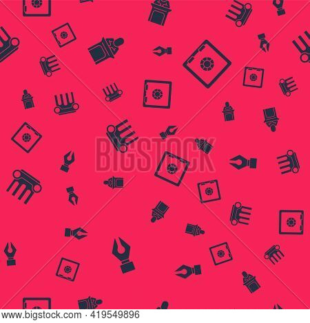 Set Fountain Pen Nib, Judge, Law Pillar And Safe On Seamless Pattern. Vector