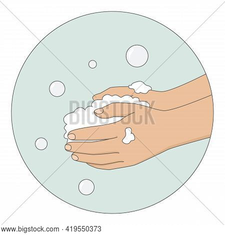 Lathering Hands With Soap. Cartoon Style. Vector Illustration.