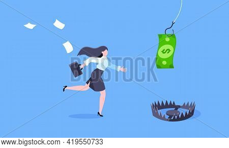 Fishing Money Chase Business Concept With Businesswoman Running After Dangling Dollar And Trying To