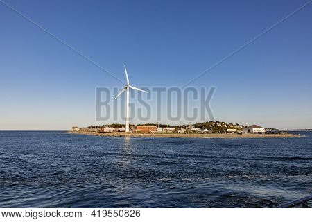 Wind Generator At The Small Island Of Hull At Boston Islands State Park, Usa