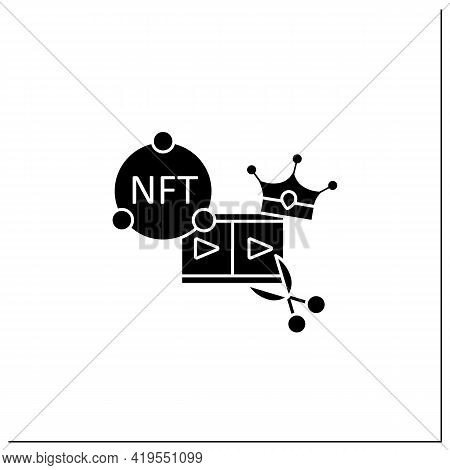 Nft Video Clips Glyph Icon.clips With Non Fungible Token Coin. Selling.represent Digital Files. Used