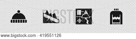 Set Winter Hat, Mountain Descent, Folded Map And Christmas Sweater Icon. Vector