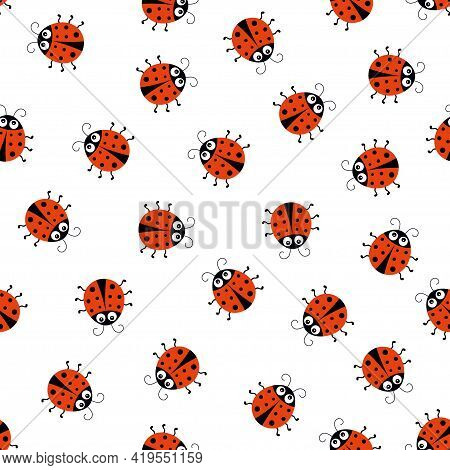 Ladybug Seamless Pattern, Vector Illustration With Cute Baby Design, Ladybird Decorative Fabric With