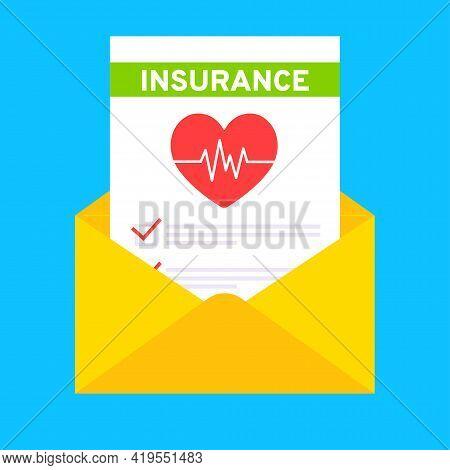 Medical Insurance Envelope Letter Claim Form With File Paper Sheets Flat Style Design Vector Illustr