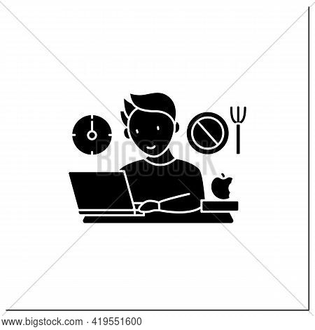 Workaholic Glyph Icon.skip Lunch Breaks Through Work. Man At Laptop. Hard Working.overworking Concep