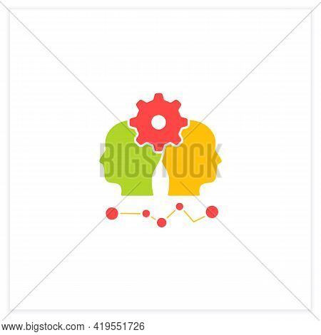Conflict Management Flat Icon. Conflict Between Two Persons. Successfully Handles, Resolves Issues S