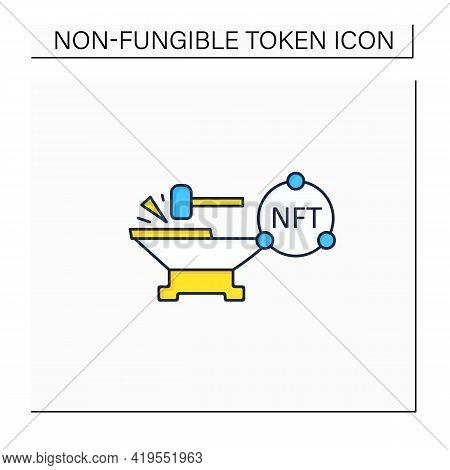 Minting Color Icon. Tokenizes Digital Asset On Blockchain. Minting Cryptocurrency. Digitalization Co