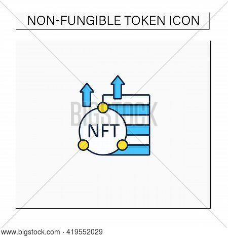 Nft Asset Color Icon. Unique Digital Assets. Growth. Cryptocurrency Concept. Isolated Vector Illustr