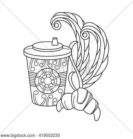 Coloring Book. Disposable Coffee Cup, Croissant. Takeaway Coffee, Breakfast. Doodle Elements Vector