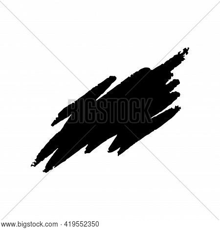 Messy Chalk Frame. Black Chalk Paintbrush Print Isolated In White Background. Vector Illustration