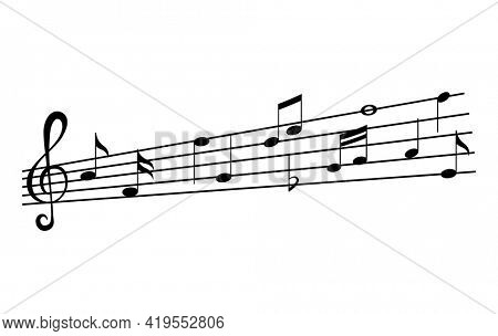 Music notes on staves. Music staff black notes symbols in monochrome style. Abstract row of musical notes and chords collection.  musical notation