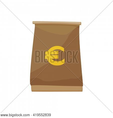 European currency note euro banknotes. Money  illustration. Investment capital wealth savings or financial prosperity symbol. Bag for cash