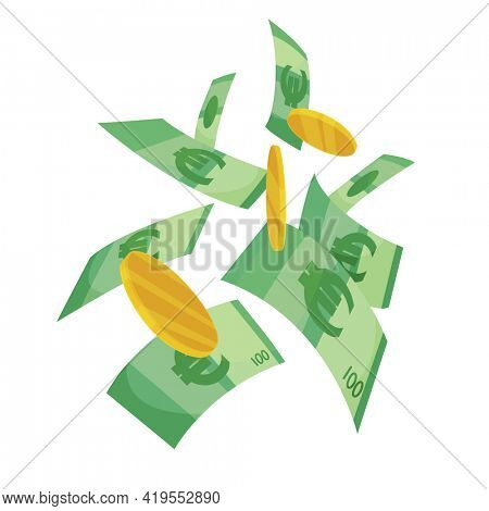 European currency note euro banknotes. Money  illustration. Investment capital wealth savings or financial prosperity symbol. Paper money and coins