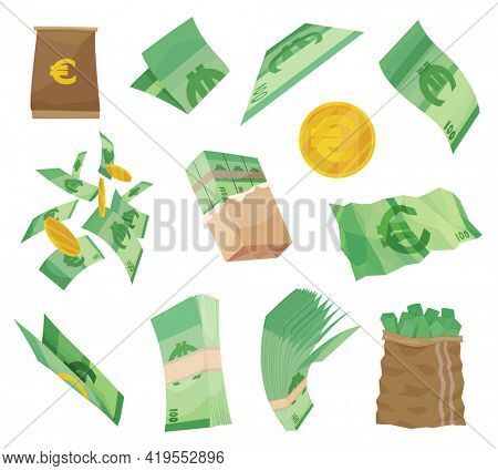 European currency note euro banknotes. Various money bills dollar cash paper bank notes and gold coins. Collection of cash heap pile and currency stack  set