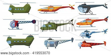 Helicopter cartoon aviation set. Avia transportation with propeller isolated on white.  copter aircraft rotor plane cargo. Civil and army military transport helicopters collection