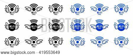 Wi - Fi Free. Free Wireless Network Concept Icons Set. Wi-fi Signal With Wings - A Symbol Of A Free