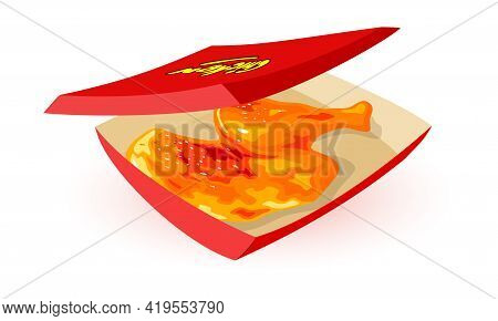 Tasty Chicken Leg With Golden Crust In Cardboard Box. Vector Deep-fried Quick Snack For Takeaway Iso