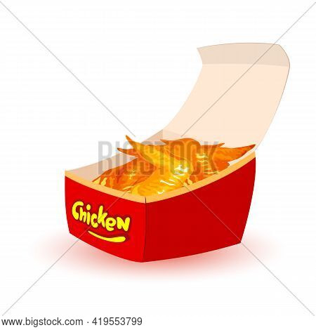 Golden Crust And Aromatic Chicken Wings, Fast Food, Unhealthy Eating, Snack For Teenagers. Vector Ma