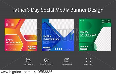Father's Day Social Media Post Template Or Banner Design. Editable Social Media Background Banner Fo