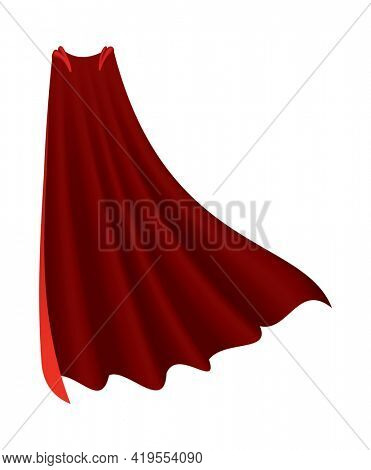 Superhero red cape. Scarlet fabric silk cloak in front view. Carnival or masquerade dress. Realistic costume design. Silk flying cape