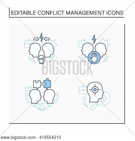 Conflict Management Line Icons Set. Dispute Resolution.compromising, Identifying Triggers, Stress Ma