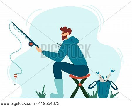 Young Fisherman Fishing. Young Man Sitting On A Stool Enjoying Leisure Time In Nature. Banner, Site,
