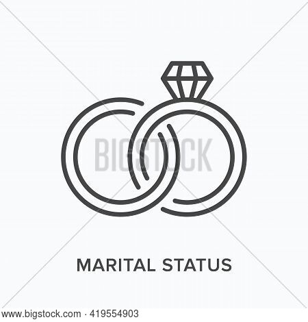 Marital Status Flat Line Icon. Vector Outline Illustration Of Two Rings. Black Thin Linear Pictogram
