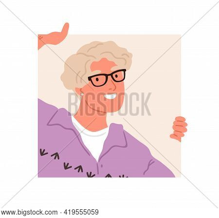 Happy Person In Glasses Peeping And Peeking Out Of Square Hole. Curious Woman Looking Outside. Human