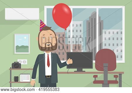 Businessman Celebrate His Birthday Alone In Office. Vector Illustration.