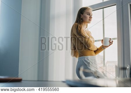 Worker Burnout, Emotional Burnout, Mental Health Problem. Tired Businesswoman, Worker Standing By Th
