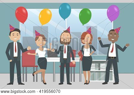 Multiethnic Team Of International Company Of Corporate Party. Vector Illustration.