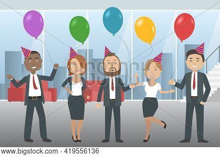 Office Party In International Company. Multiethnic Team. Vector Illustration.