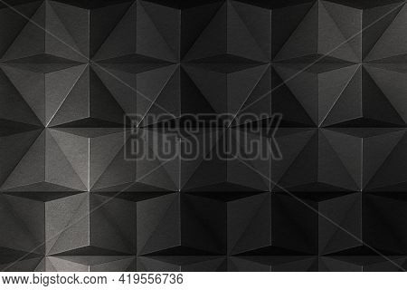 3D dark gray paper craft tetrahedron patterned background