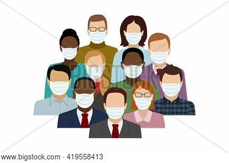 Multiethnic Group Of People In Face Masks. Vector Illustration.