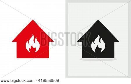 Fire House Logo Design. Home Logo With Fire Concept Vector. Fire And Home Logo Design
