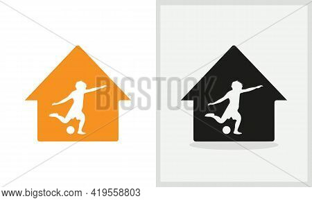 Football House Logo Design. Home Logo With Woman Footballer Concept Vector. Football And Home Logo D