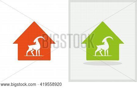 Goat House Logo Design. Home Logo With Goat Concept Vector. Goat And Home Logo Design