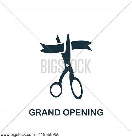 Grand Opening Icon. Scissors Cutting Ribbon Icon. Open, Ribbon, Cut, Inauguration, Scissors, Ceremon