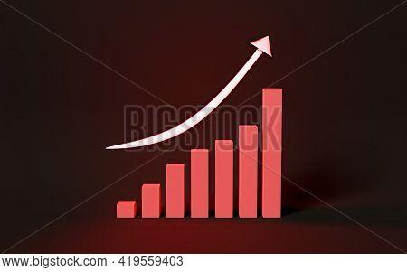 Red Neon Arrow Illuminating A Upward Trending Graph. 3d Render
