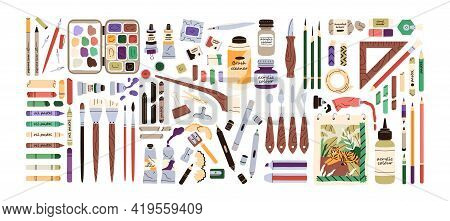 Set Of Artists Painting Supplies, Tool Kits And Accessories. Crayons, Erasers, Brushes, Colour Penci