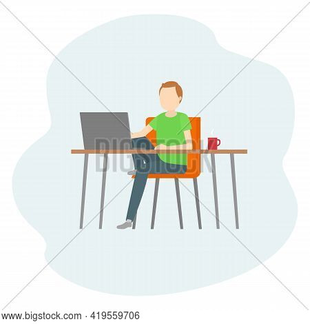 Man Sitting At Table And Working On Laptop. Teleworking. Vector Illustration.