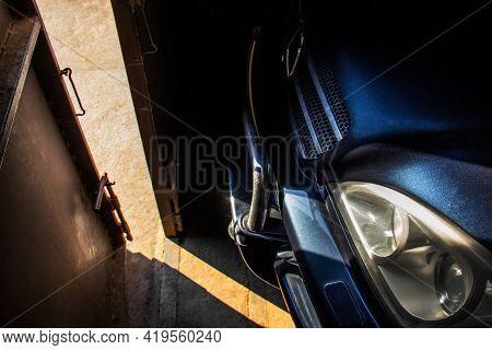 Chernihiv, Ukraine - May 1, 2021: Mercedes-benz Ml W163 In The Shade. Mercedes Suv In The Garage