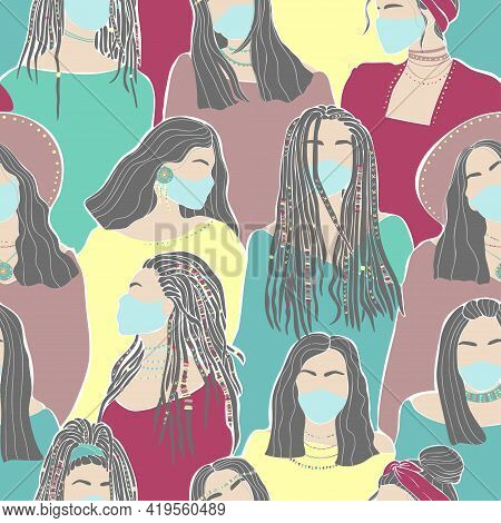 Beautiful Hand Drawn Pattern With Women Face Mask On White Background. Coronavirus Epidemic Protecti
