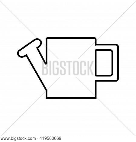 Black Outline Of A Large Rectangular Watering Can For Watering, On A White Background