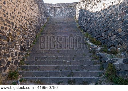Final Stairway Leading To Citadel, Main Building & Heart Of Kars Castle. Fortress Built In 1153 Ot T