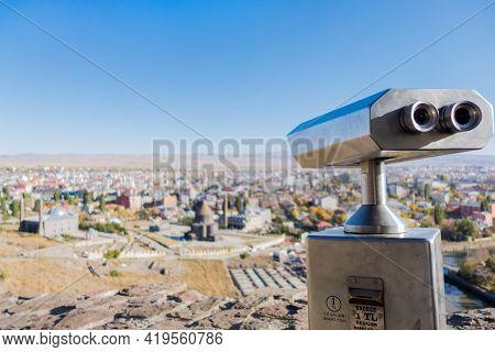 Public Binoculars In Kars Castle. Writings Translating As 'insert Coin' '1 Turkish Lira' 'works Only
